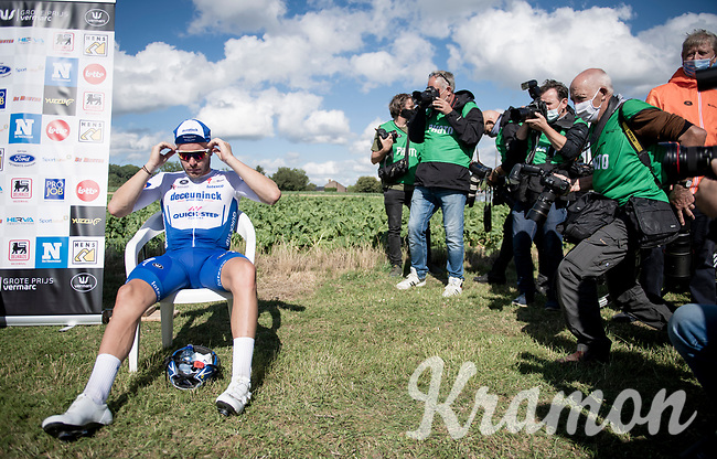 "race winner Florian Sénéchal (FRA/Deceuninck - QuickStep) ""backstage"" in covid19-dominated times where podium ceremonies are minimalised & held fully outdoors<br /> <br /> the inaugural GP Vermarc 2020 is the very first pro cycling race in Belgium after the covid19 lockdown of Spring 2020 & which was only set up some weeks in advance to accommodate belgian teams by providing racing opportunities asap after the lockdown allowed for racing to restart (but still under strict quarantine / social distancing measures for the public, riders & press)<br /> <br /> Rotselaar (BEL), 5 july 2020<br /> ©kramon"