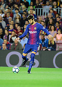 9th September 2017, Camp Nou, Barcelona, Spain; La Liga football, Barcelona versus Espanyol; Gerard Pique clears upfield