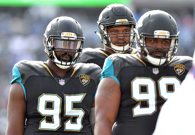 Jacksonville Jaguars defensive linemen Abry Jones (95), Calais Campbell (93) and Marcell Dareus (99) against the Buffalo Bills in a NFL Wildcard Playoff game Sunday, January 7, 2018 in Jacksonville, Fl.  (Rick Wilson/Jacksonville Jaguars)