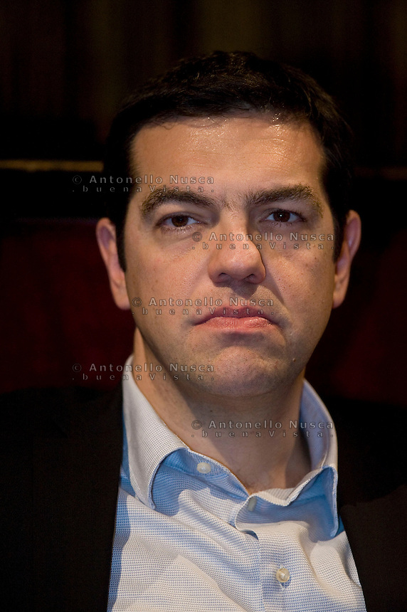 Rome, Friday, Feb.7, 2014. Greek leftwing opposition leader Alexis Tsipras delivers his speech during a meeting with Italian leftwing activists held at the Teatro Valle theater. (Antonello Nusca/Polaris)