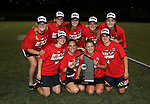 Maryland women's lacrosse seniors with the Big Ten Regular Season Championship trophy after defeating Penn State on April 20, 2017.  Photo/Craig Houtz