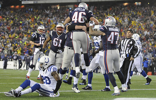 18.01.2015. Foxborough, MA, USA - New England celebrates after their second touchdown during the first half on Sunday, Jan. 18, 2015, at Gillette Stadium in Foxborough, Mass