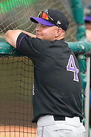 Louisville Bats outfielder Cody Ross (4) watches batting practice at Knights Stadium in Fort Mill, SC, Thursday, May 4, 2006.