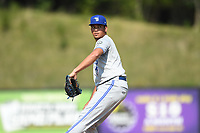 Bluefield Blue Jays starting pitcher Roither Hernandez (14) in action during a game against the Danville Braves at American Legion Post 325 Field on July 28, 2019 in Danville, Virginia. The Blue Jays defeated the Braves 9-7. (Tracy Proffitt/Four Seam Images)