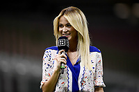Dazn Tv presentee Diletta Leotta at work prior to the Serie A football match between AC Milan and Bologna FC at stadio Giuseppe Meazza in Milano ( Italy ), July 18th, 2020. Play resumes behind closed doors following the outbreak of the coronavirus disease. <br /> Photo Image Sport / Insidefoto
