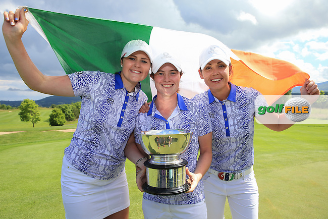 The successful Irish trio of Olivia Mehaffey, Leona Maguire and Maria Dunne with the 2016 Curtis Cup, played at Dun Laoghaire GC, Enniskerry, Co Wicklow, Ireland. 12/06/2016. Picture: David Lloyd | Golffile. <br /> <br /> All photo usage must display a mandatory copyright credit to &copy; Golffile | David Lloyd.