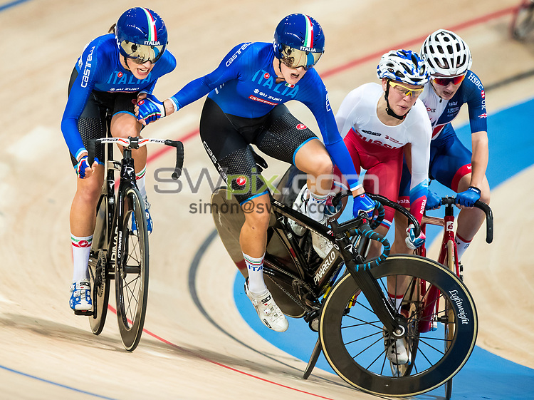 Picture by Alex Whitehead/SWpix.com - 05/11/2017 - Cycling - Tissot UCI Track Cycling World Cup - BGZ Arena, Pruszkow, Poland - Italy's Maria Giulia Confalonieri and Elisa Balsamo crash during the Women's Madison final.