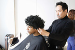Kien Hoang for Oribe styles model's hair backstage for the David Hart Autumn Winter 2019 fashion presentation February 4, 2019; at 55 Water Street for New York Men's Day Fall Winter 2019, during New York Fashion Week: Men's Fall Winter 2019.
