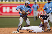 North Carolina Tar Heels shortstop Landon Lassiter #12 turns a double play against the California Golden Bears in the NCAA baseball game on March 2nd, 2013 at Minute Maid Park in Houston, Texas. North Carolina defeated Cal 11-5. (Andrew Woolley/Four Seam Images).