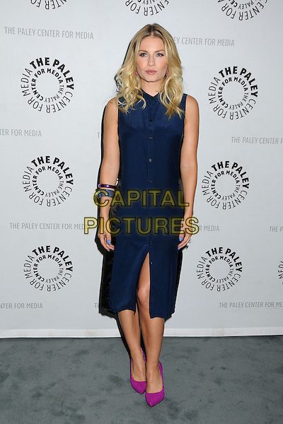 "Elisha Cuthbert.An Evening With ""Happy Endings"" held at the Paley Center, Beverly Hills, California, USA..October 16th, 2012.full length blue sleeveless dress pink shoes shirt buttons slit split .CAP/ADM/BP.©Byron Purvis/AdMedia/Capital Pictures."