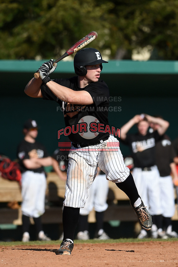 Edgewood Eagles catcher Garrett Bogucki (25) during the first game of a doubleheader against the Plymouth State Panthers on March 17, 2015 at Terry Park in Fort Myers, Florida.  Edgewood defeated Plymouth State 12-3.  (Mike Janes/Four Seam Images)