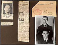 BNPS.co.uk (01202 558833)<br /> Pic: AdamPartridge/BNPS<br /> <br /> Newspaper clippings and a plus one ticket from the medal ceremony for Sergeants Denys Chapman and Kenneth Leach.<br /> <br /> The little-known story of a heroic Second World War pilot and navigator duo who were the real life version of Maverick and Goose from 80s film Top Gun has emerged after more than 70 years.<br /> <br /> Sergeants Denys Chapman and Kenneth Leach were both awarded a Distinguished Flying Medal - one of the air force's top awards - for their bravery fighting enemy aircraft in the 1940s.<br /> <br /> Unusually, Sergeant Leach got his when Command tried to give a second DFM to Sgt Chapman but he refused and insisted it go to his flying buddy for saving his life. <br /> <br /> The rare and important medals are now going up for sale together with Adam Partridge Auctioneers in Macclesfield, Cheshire.