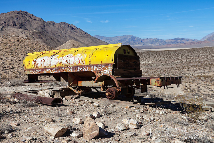 An abandoned tanker trailer sits near the Lippincott Mine in a remote area of Death Valley National Park.