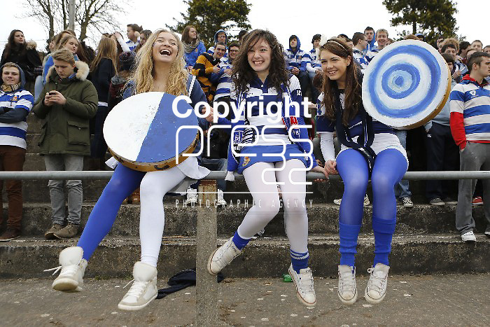 05/03/2013 Rockwell Fans Jean O'Donnell, Kate Heffernan and Sarah O'Sullivan pictured at the Munster Schools Senior Cup Semi Final between Rockwell College and St Munchins College which took place at Clanwilliam Park, Tipperary Picture: Don Moloney / Press 22