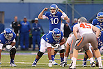 13 October 2012: Kansas quarterback Dayne Crist (10). The Oklahoma State University Cowboys played the University of Kansas Jayhawks at Memorial Stadium in Lawrence, Kansas in a 2012 NCAA Division I Football game.