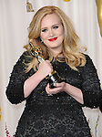 Adele Adkins in the press room at the 85th Academy Awards, held at the Dolby Theater in Los Angeles, CA. February 24, 2013