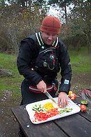 Jason Prepares Lunch, Posey Island, Washington, US