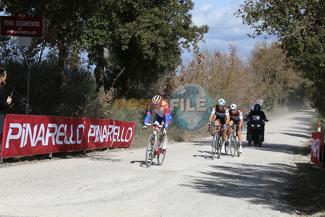 The breakaway Leo Vincent (FRA) Groupama-FDJ, Alexandre Geniez (FRA) AG2R La Mondiale and teammate Nico Denz (GER) and Diego Rosa (ITA) Team Sky on sector 3 Radi during Strade Bianche 2019 running 184km from Siena to Siena, held over the white gravel roads of Tuscany, Italy. 9th March 2019.<br /> Picture: Seamus Yore | Cyclefile<br /> <br /> <br /> All photos usage must carry mandatory copyright credit (© Cyclefile | Seamus Yore)
