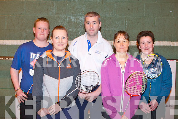 BADMINTON: Competing in the in Kingdom Badminton Club competition at the Tralee Sports Complex on Sunday l-r: Alex Goggin (Killarney BC), Marie Flynn (Castleisland BC), Donal Barry (Killarney BC), Kate Lawlor (Listowel BC) and Susan Connell (Sneem-Iveragh BC).