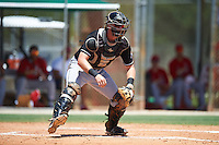 GCL Marlins catcher Matthew Foley (26) waits for a throw during the second game of a doubleheader against the GCL Cardinals on August 13, 2016 at Roger Dean Complex in Jupiter, Florida.  GCL Cardinals defeated GCL Marlins 2-0.  (Mike Janes/Four Seam Images)