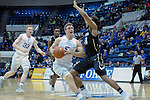 December 19, 2016:  Air Force guard, Zach Kocur #5, drives the lane during the NCAA basketball game between the University of Colorado Buffaloes and the Air Force Academy Falcons, Clune Arena, U.S. Air Force Academy, Colorado Springs, Colorado.  Colorado defeats Air Force 75-68.