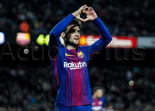 29th November 2017, Camp Nou, Barcelona, Spain; Copa Del Rey, Barcelona versus Real Murcia; Jose Arnaiz celebrating his first goal with FC Barcelona