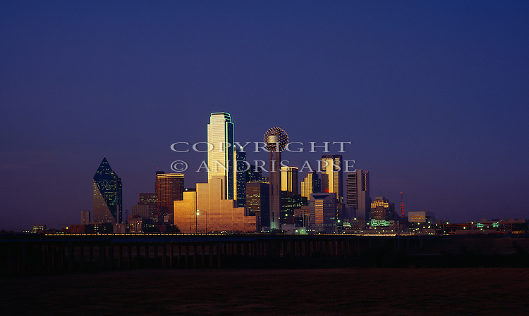 Sunset on the glass towers of Dallas. Texas. USA.