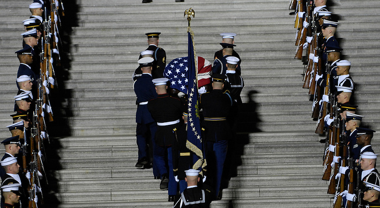 Military pallbearers carried the remains of former U.S. President Gerald R. Ford up the East Front Steps on the House side of the U.S. Capitol December 30, 2006 in Washington, DC. Ford will lie in state in the Rotunda of the capitol until January 2, 2007 when the remains will travel to Grand Rapids, Michigan, where he will be laid to rest at his presidential library.
