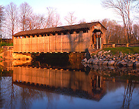 Sunset light on the covered bridge over the Flat River; Fallassburg County Park, MI