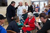 United States President Barack Obama and New Jersey Governor Chris Christie talk with local residents at the Brigantine Beach Community Center in Brigantine, New Jersey, Wednesday, October 31, 2012. .Mandatory Credit: Pete Souza - White House via CNP