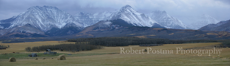 A storm approaches over the mountains of Waterton National Park.