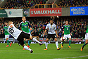 Germany's Joshua Kimmich scores the third goal aginst N.Ireland during the FIFA World Cup 2018 Qualifying Group C qualifying soccer match between Northern Ireland and Germany at the National Football Stadium at Windsor Park, Belfast, Northern Ireland, 5 Oct 2017. Photo/Paul McErlane