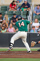 Chris Hoo (14) of the Greensboro Grasshoppers at bat against the Kannapolis Intimidators at CMC-NorthEast Stadium on August 30, 2014 in Kannapolis, North Carolina.  The Intimidators defeated the Grasshoppers 3-1.  (Brian Westerholt/Four Seam Images)
