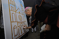 Bishop of Paramaribo Monseigneur Wilhelmus Adrianus Josephus Maria de Bekker signs the board prepared for the opening. ....Official Opening Ceremony of ST. Petrus and Paulus Cathedral (AKA World's largest wooden cathedral)