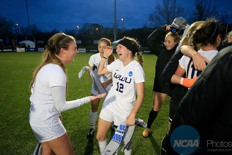 KANSAS CITY, MO - DECEMBER 03:  Caitlyn Jobanek (12) of Western Washington University celebrates after defeating Grand Valley State University during the Division II Women's Soccer Championship held at Children's Mercy Victory Field at Swope Soccer Village on December 03, 2016 in Kansas City, Missouri. Western Washington University beat Grand Valley State University 3-2 to win the national title.  (Photo by Jack Dempsey/NCAA Photos via Getty Images)