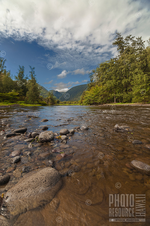 The Waipi'o Valley Stream makes its way to the Pacific Ocean on the Big Island of Hawai'i.