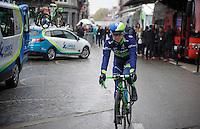 former winner Simon Gerrans (AUS/Orica-GreenEDGE) rolling out to the start<br /> <br /> 102nd Li&egrave;ge-Bastogne-Li&egrave;ge 2016