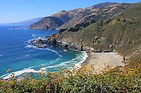 Highway 1 and Big Creek Bridge along California's Big Sur Coastline