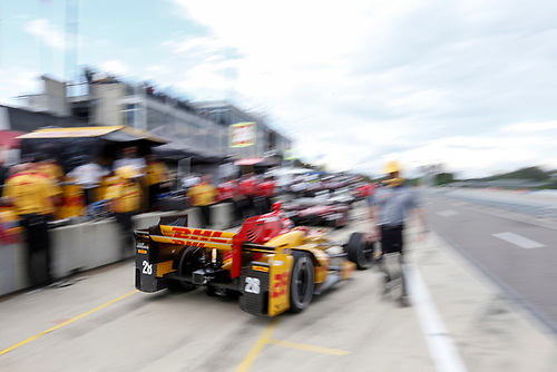22-24 April, 2016, Birmingham, Alabama USA <br /> 28 Ryan Hunter-Reay leaving pits<br /> ©2016, Sam Cobb<br /> LAT Photo USA