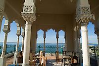 Terrace with a view of the sea on top of the Palacio de Valle on Punta Gorda, Cienfuegos, Cuba.