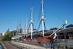 Replica of Three Sisters pirate ship at Tobacco Dock, Wapping, London