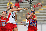 Redondo Beach, CA 05/14/11 - Allison Field (Redondo Union #14) and Hailey Fessenden (Los Alamitos #25)in action during the 2011 US Lacrosse / CIF Southern Section Division 1 Girls Varsity Lacrosse Championship, Los Alamitos defeated Redondo Union 17-5.