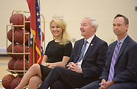 NWA Democrat-Gazette/BEN GOFF @NWABENGOFF<br /> Miss America Savvy Shields (from left) of Fayetteville, Gov. Asa Hutchinson and Arkansas Surgeon General Greg Bledsoe sit together Monday, May 1, 2017, during a presentaiton at Fulbright Junior High in Bentonville to kick off a new initiative called 'Healthy Active Arkansas.'