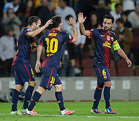 FUSSBALL   INTERNATIONAL   CHAMPIONS LEAGUE   2012/2013      FC Barcelona - Celtic FC Glasgow       23.10.2012 JUBEL Barcanach dem Tor zum 1-0 Torschuetze Andres Iniesta, Lionel Messi und Xavi Hernandez (v.li.)