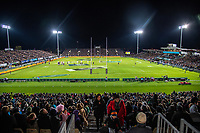 A general view from the temporary terrace seating during the Rugby Championship match between the New Zealand All Blacks and Argentina Pumas at Trafalgar Park in Nelson, New Zealand on Saturday, 8 September 2018. Photo: Dave Lintott / lintottphoto.co.nz