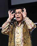 January 18, 2017, Tokyo, Japan - Japanese singer-songwriter Pikotaro speaks before he performs dancing of his mega hit song PPAP for a promotion of Japanese mobile communication service Y!mobile, a subsidiary of Japanese telecom giant Softbank in Tokyo on WEdnesday, January 18, 2017. Pikotaro announced he would have a concert at Tokyo's Budokan Hall in March.   (Photo by Yoshio Tsunoda/AFLO) LWX -ytd