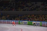SCHAATSEN: AMSTERDAM: Olympisch Stadion, 09-03-2018, WK Allround, Coolste Baan van Nederland, 3000m Ladies, Jelena Peeters (BEL), Katarzyna Wozniak (POL), ©foto Martin de Jong