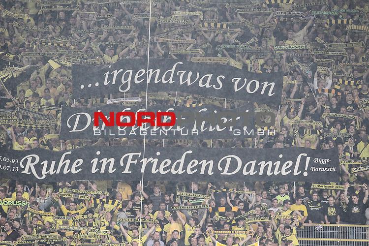 18.08.2013, Signal Iduna Park, Dortmund, GER, 1. FBL, Borussia Dortmund vs Eintracht Braunschweig, im Bild<br /> Ruhe in Frieden Daniel<br /> Fan Banner Kurve<br /> Foto &not;&copy; nph / Mueller *** Local Caption ***