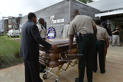 5/29/15 Indianola MS  The Thrill is gone, B. B. King final home coming, his body is on public view befre the burial. The body of blues legend B.B. King is on public view in the cotton gin at the B.B. King Museum and Interpretive Center. Mr. King will be laid to rest at the BB King Museum after a funeral Saturday at the Bell Grove Missionary Church in Indianola. Photo ©Suzi Altman