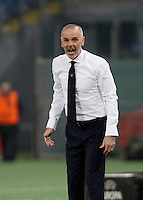 Calcio, Europa League: Lazio vs Sparta Praga. Roma, stadio Olimpico, 17 marzo 2016.<br /> <br /> Lazio coach Stefano Pioli shouts during the round of 16 second leg soccer match between Lazio and Sparta Praha, at Rome's Olympic Stadium, 17 March 2016. Sparta Praha won 3-0 to join the quarter finals.<br /> UPDATE IMAGES PRESS/Isabella Bonotto